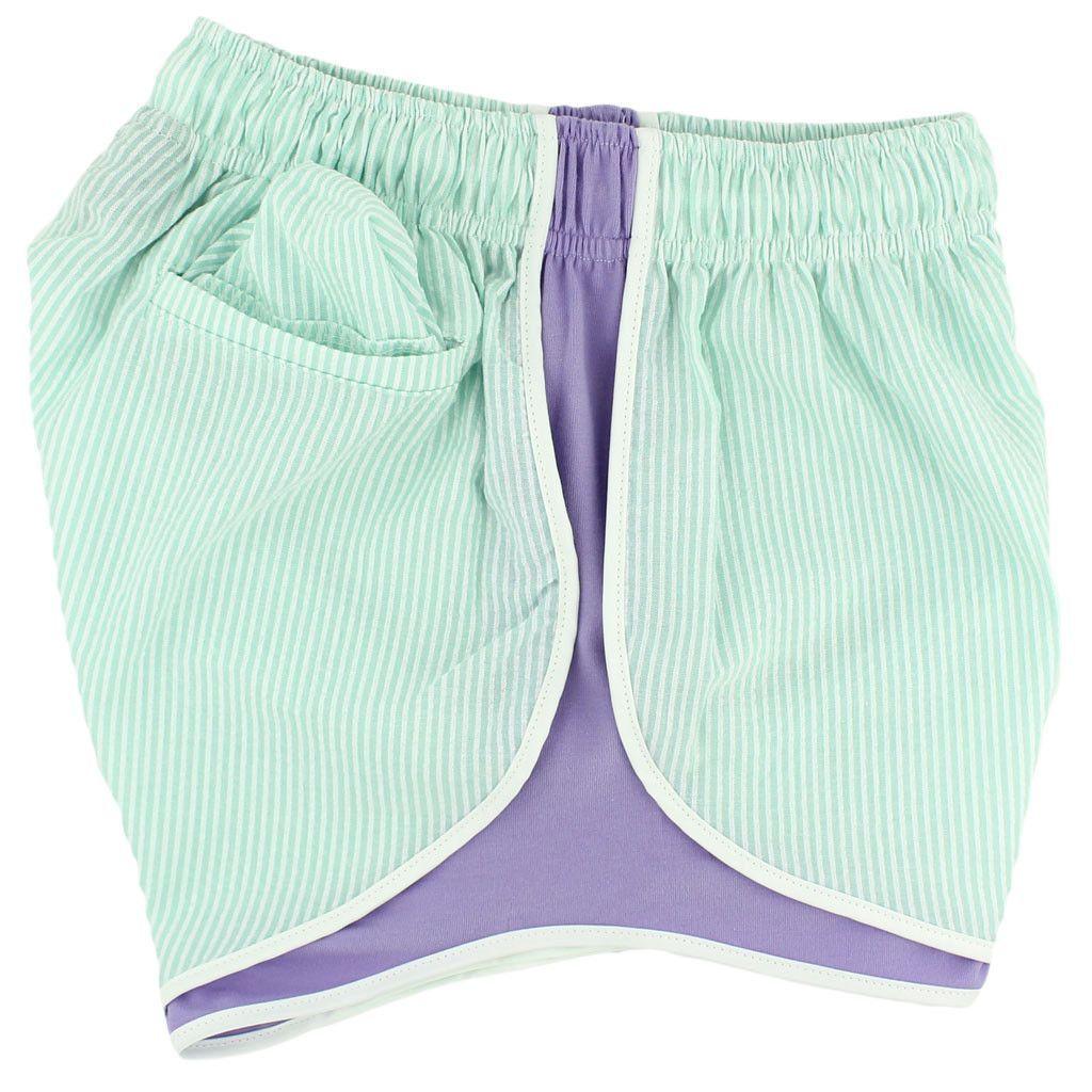 Shorties Shorts in Mint Seersucker with Lavender Panel by Lauren James