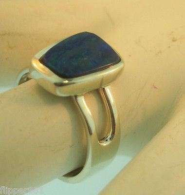 Blue Opal Ring Sterling Silver Size 6 1/2