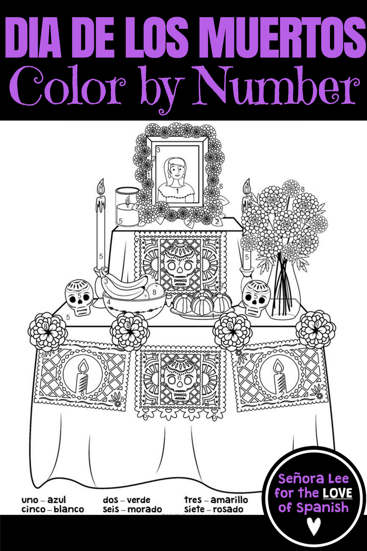 Day of the Dead Color by Number   Spanish colors, Number ...