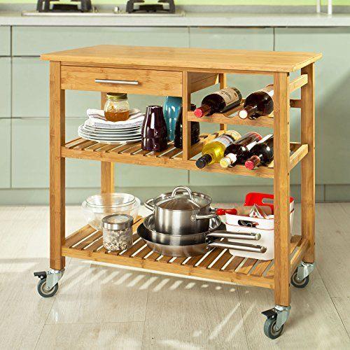 SoBuy® Servierwagen, Küchenwagen, Rollwagen m Schublade,FKW23-N - küchenwagen mit schubladen