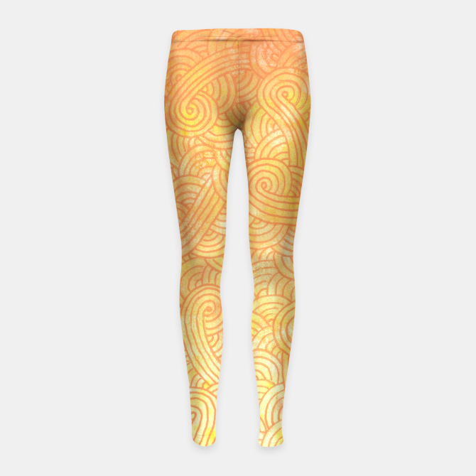 """Yellow and orange zentangles"" Girl's Leggings by Savousepate on Live Heroes #leggings #leggins #pants #kidsapparel #kidsclothing #pattern #graphic #modern #abstract #doodles #zentangles #scrolls #spirals #arabesques #yellow #orange #shiny #hotcolors #fallcolors #autumncolors #ombre"