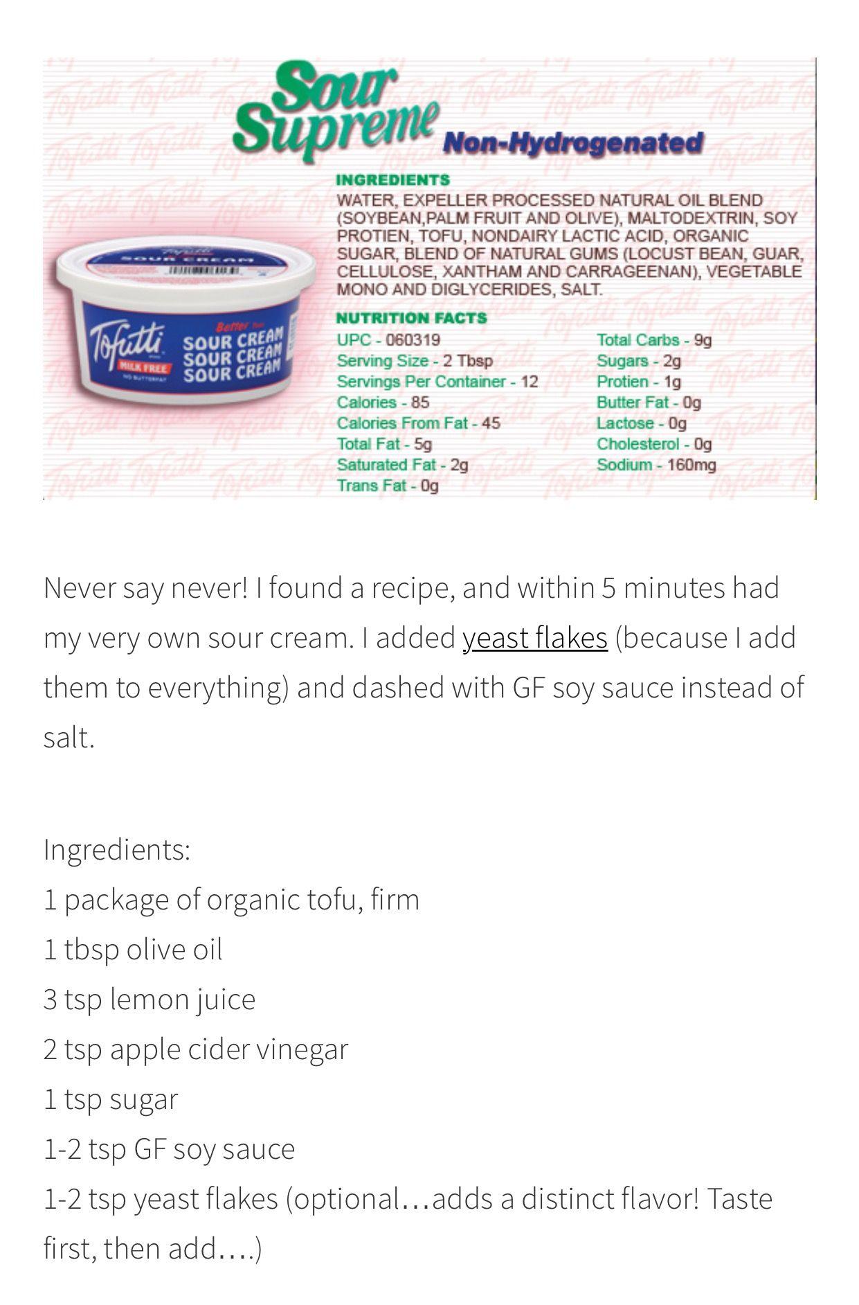 Vegan Sour Cream Vegan Sour Cream Vegetable Nutrition Facts Organic Sugar