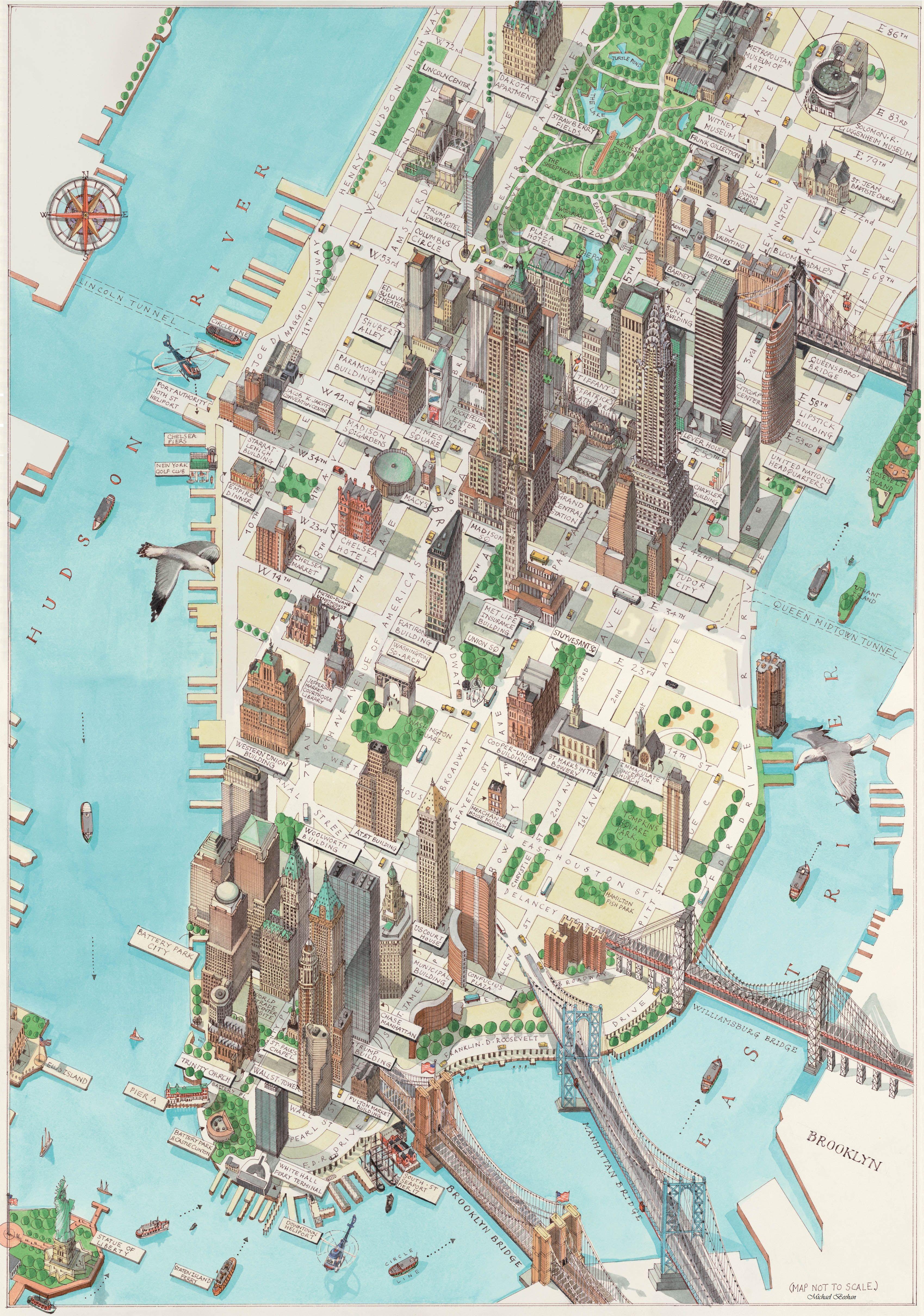 Dpictorialmapnewyorkwellmanhattenmanhattan - Map of new york penn league teams