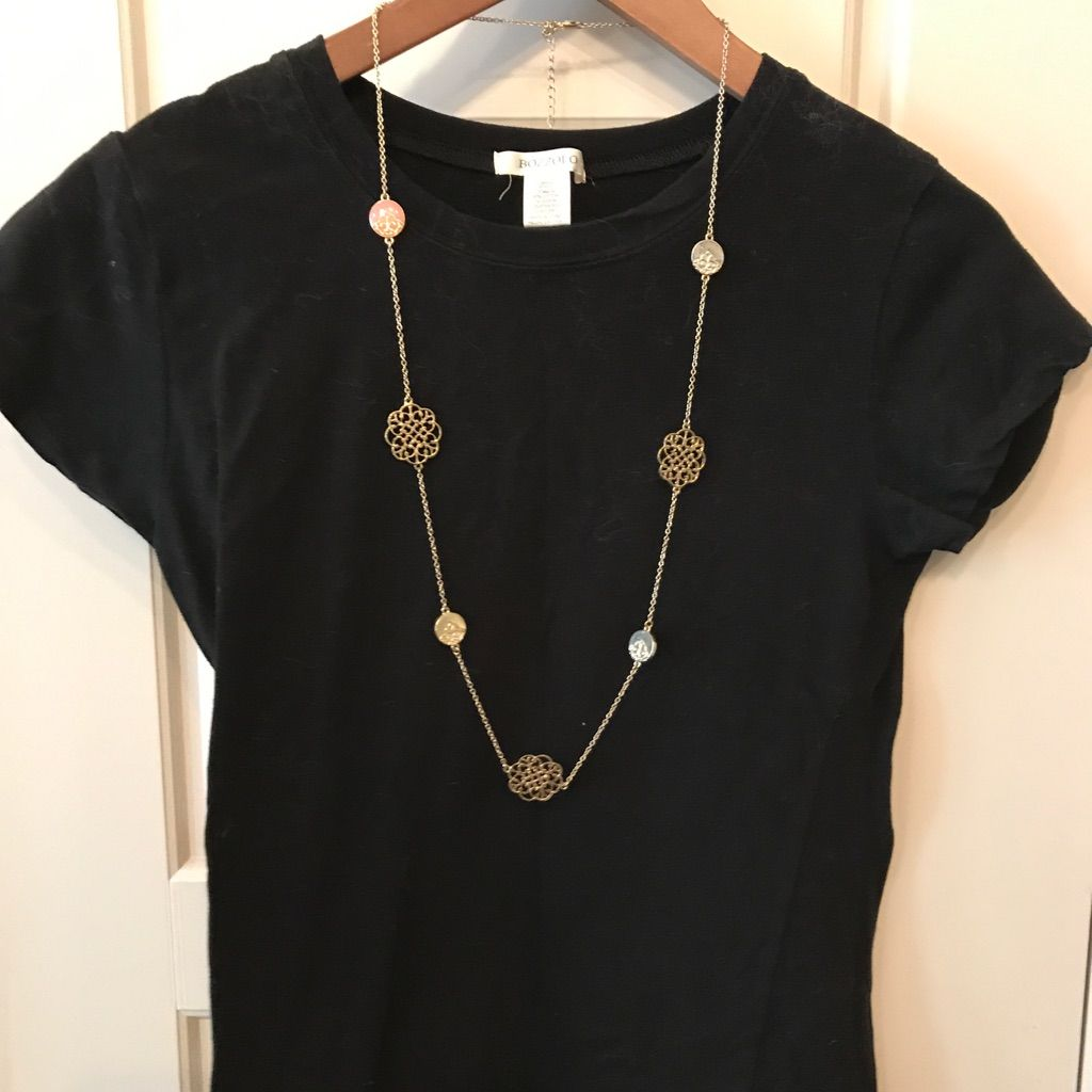 Francesca'S Collections Long Necklace, Gold& Pink