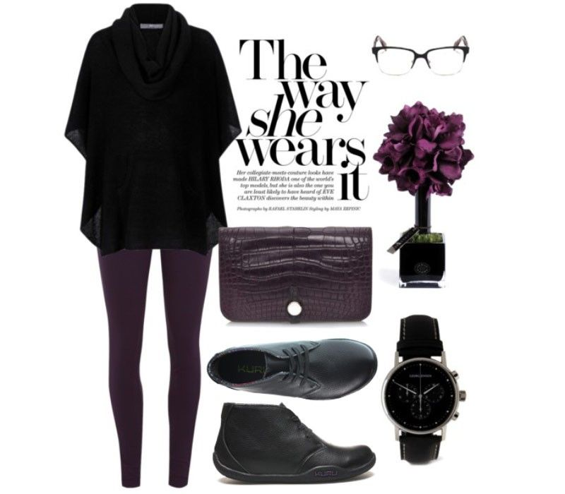 Winter weather outfit in black & purple. Aalto Chukka