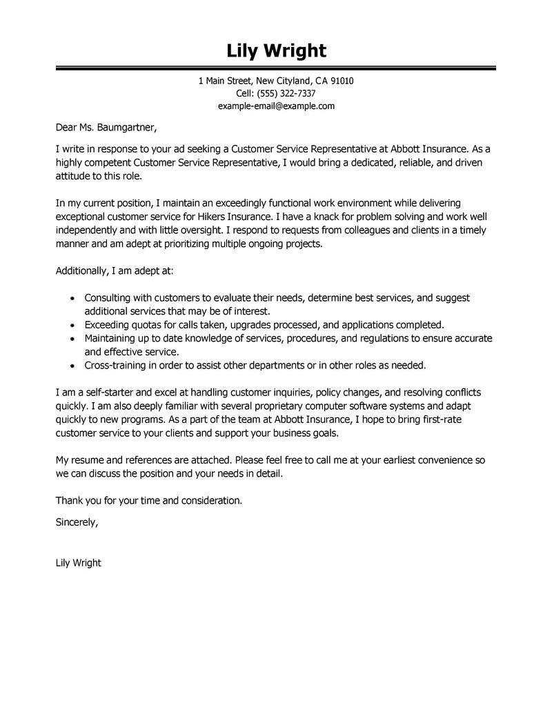 customer service representative cover letter sample - Sample Customer Service Cover Letter