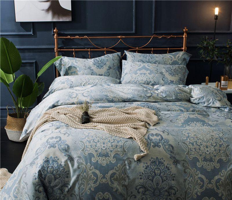 Housse de couette Egyptian cotton Print 4Pcs king size bedding sets ...