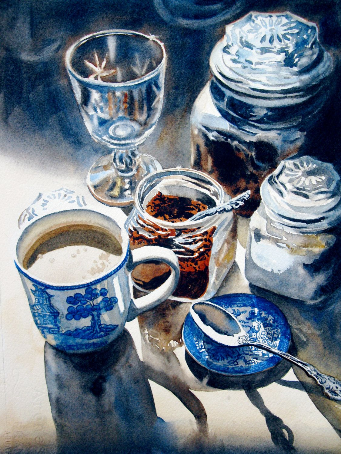 Coffee Art Etsy Original Watercolor Still Life Coffee Blue Willow 10x14 By
