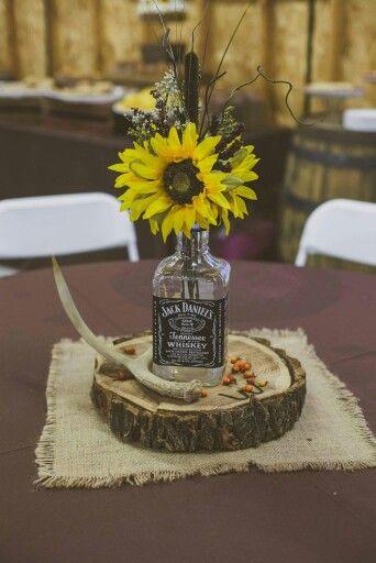 Whiskey bottle centerpiece rustic wedding decor stuff