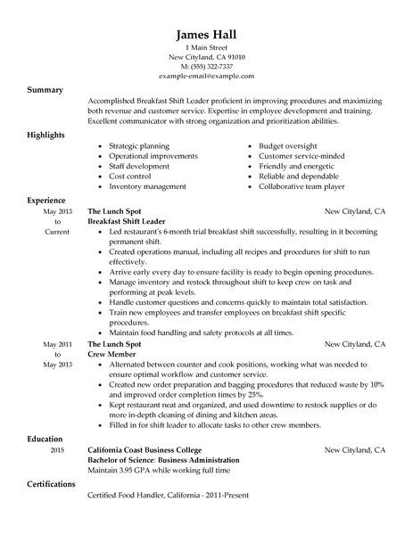 Fast Food Restaurant Manager Resume Example Traditional Cashier