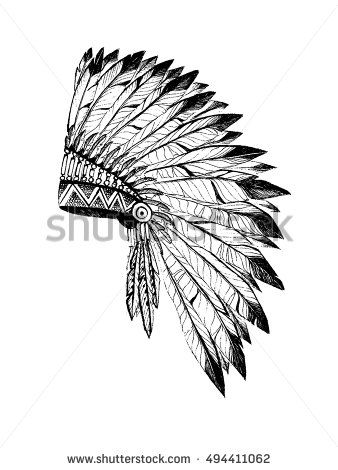 5e864ccdf Vector illustration of merican Indian chief headdress in boho style. Hand  draw rouch in rustic style vector illustration on white background.