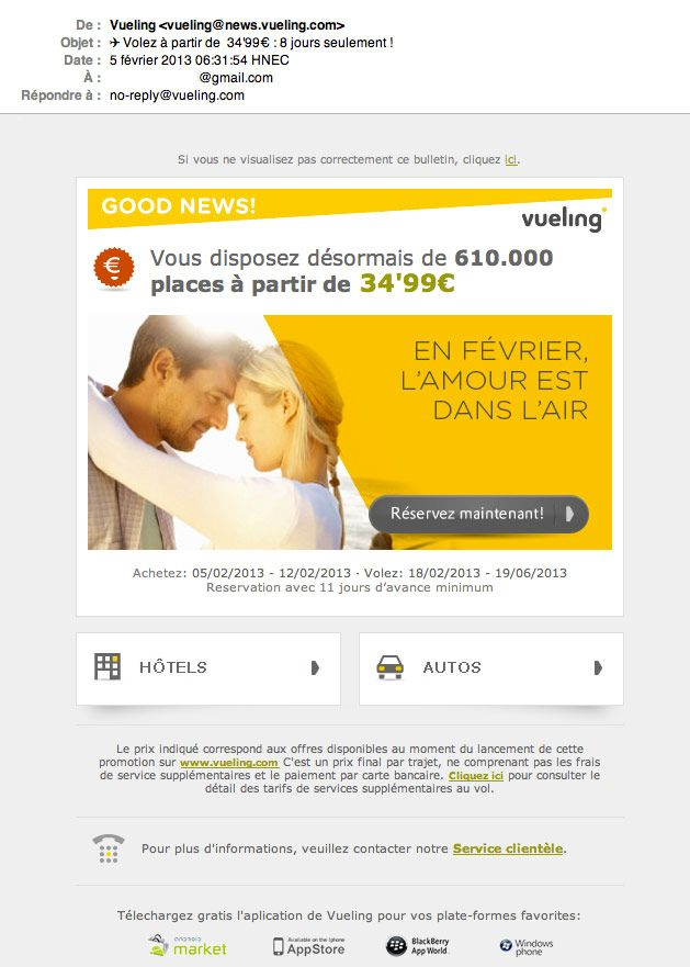 Emailing Saint Valentin © Vueling Emailing Emailing, Marketing