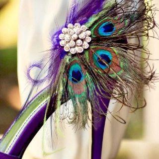 Purple Peacock Shoes Purple Wedding Shoes Peacock Shoes Shoe Clips