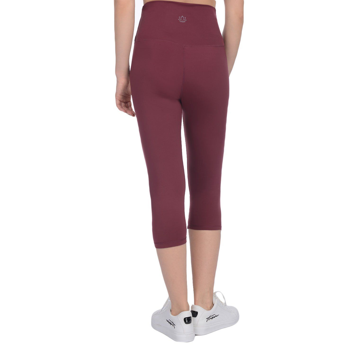 5930236d658 Yunoga Women's Yoga Calf Pants Workout Leggings with High Waist Tummy  Control and Hidden Pockets Red Medium     Check out the image by visiting  the link.