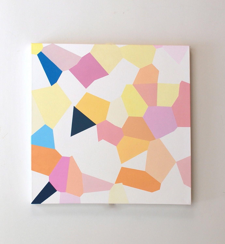 peinture l 39 huile abstraite g om trique art g om trique couleurs pastel rose et jaune. Black Bedroom Furniture Sets. Home Design Ideas