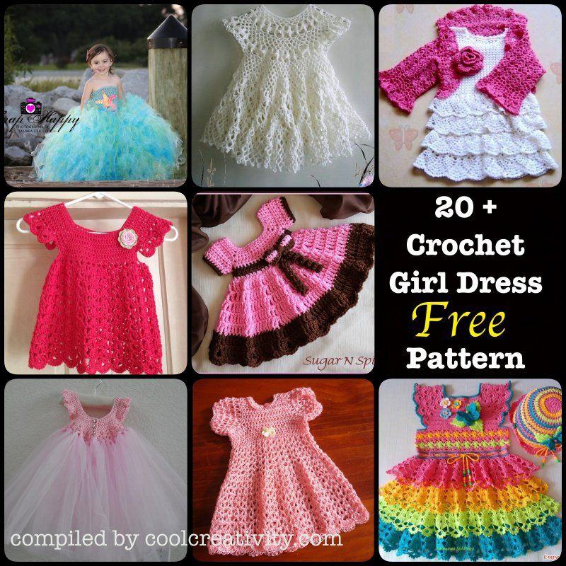 20+ Crochet Girl Dress with Free Pattern | Tejido, Ponchos y Chaleco ...