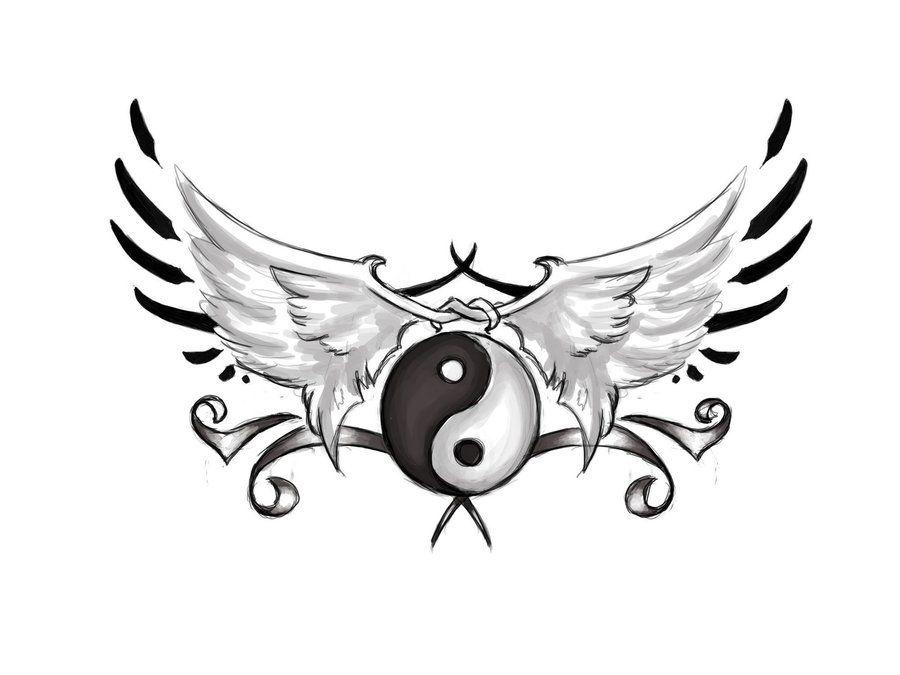 Ying Yang Wings Yingyang Tatouage