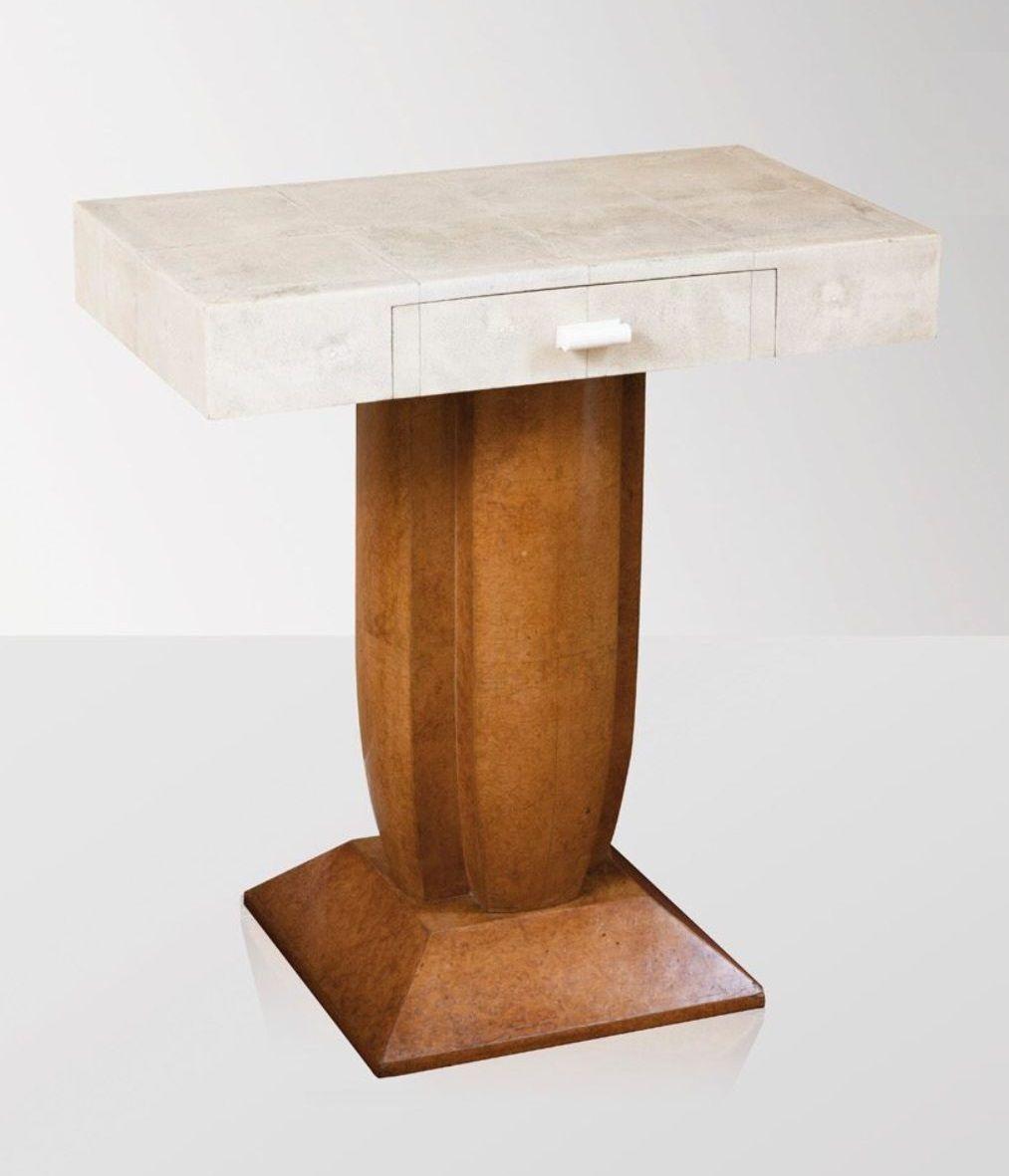 Art Deco Bedside Table Burr Amboyna And Shagreen In 2020 Bronze Decor Shagreen Furniture Art Deco Desk
