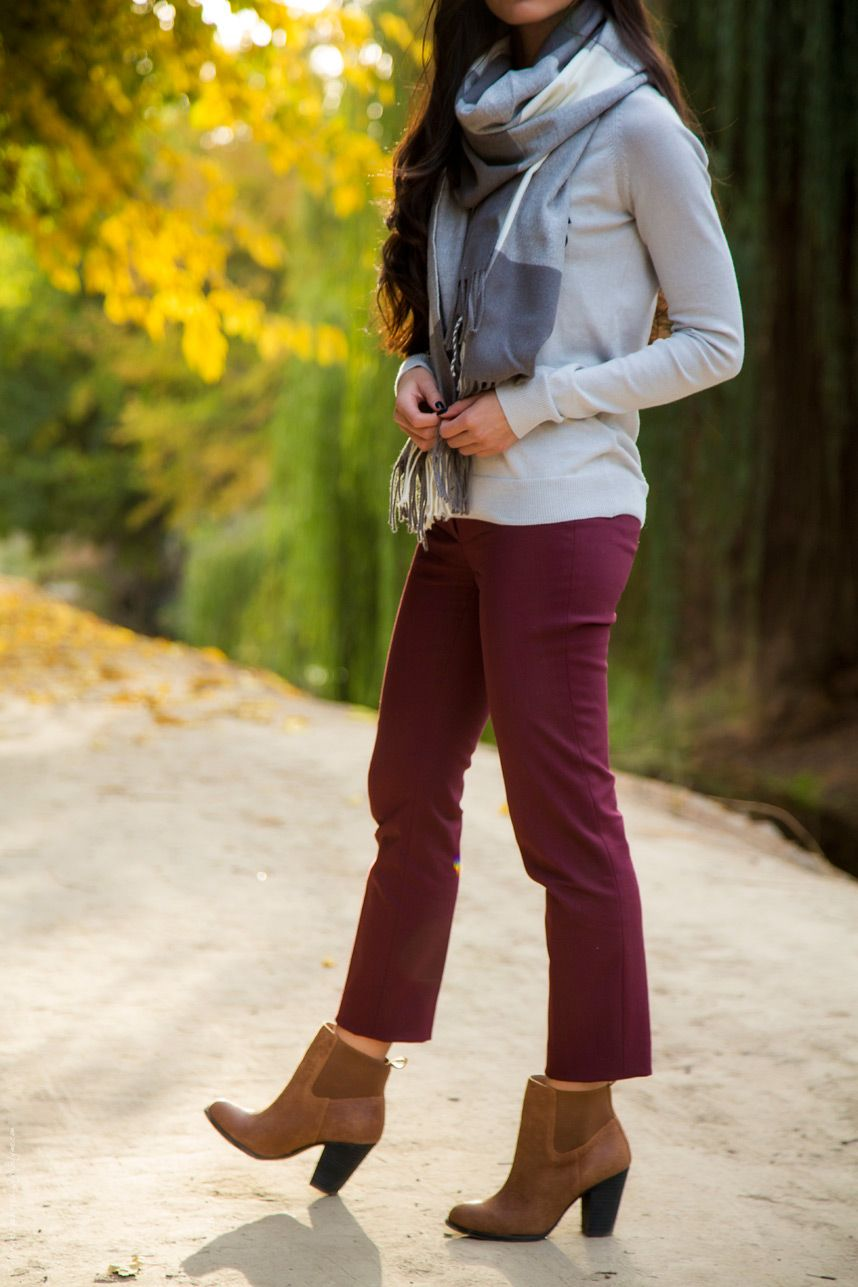 9f0c33253b Burgundy Pants and Gray Sweater Fall Outfit - Stylishlyme