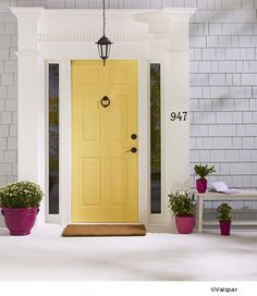 Pin By Valspar On Pops Of Color Painted Front Doors Yellow Front Doors Exterior House Colors