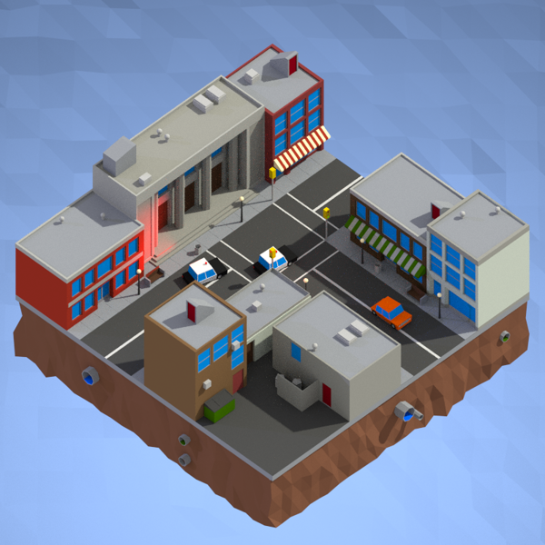 Low Poly Car Chase by Duncan Graham, via Behance