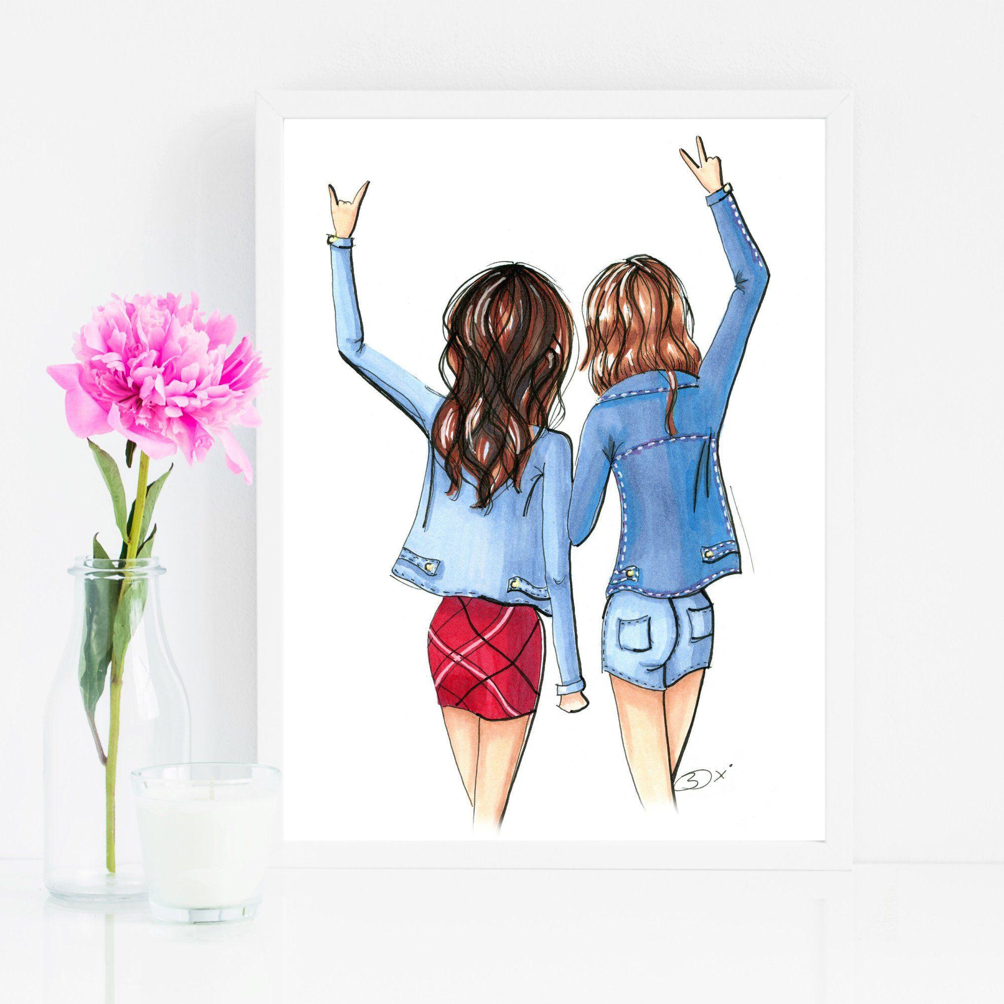 Best Friends Fashion Illustration Wall Art Print Etsy Friendship Art Best Friend Drawings Friendship Paintings