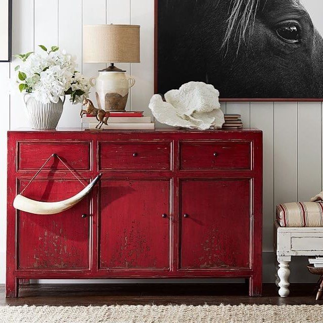 we are loving red at the moment and canu0027t get enough of the color especially how it looks on our rico media console a painted furniture piece in a great