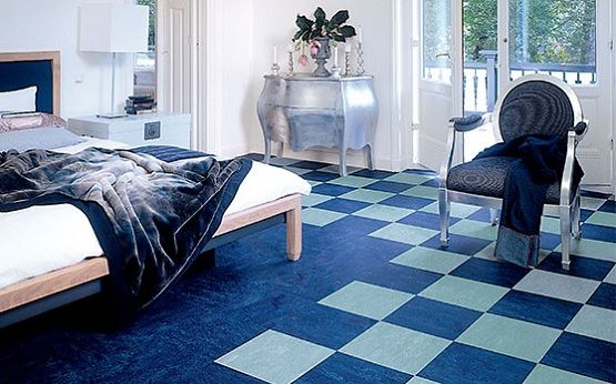 Modern Bedroom With Black And White Linoleum Flooring Linoleum Flooring Modern Bedroom Floor Design