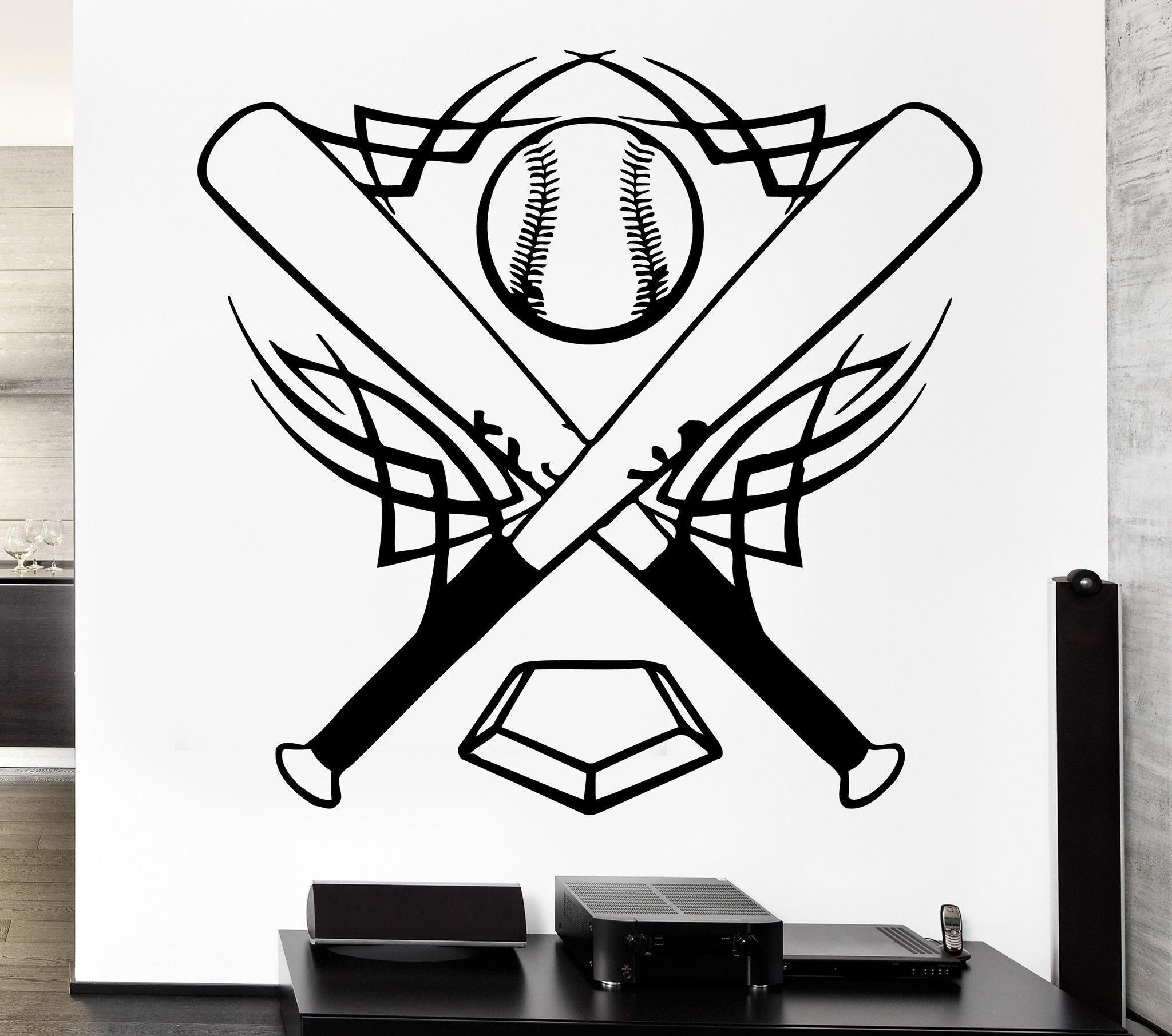Vinyl Decal Baseball Wall Stickers Bat Sports Ball Great Decor