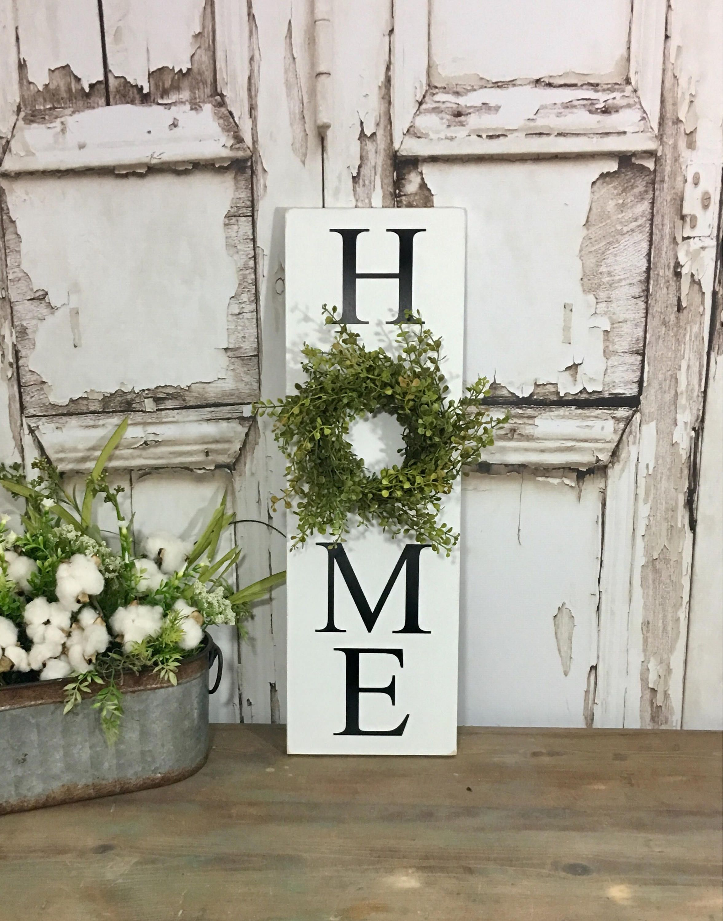 Vertical Home Sign With Wreath Sign With Wreath Baby Grass