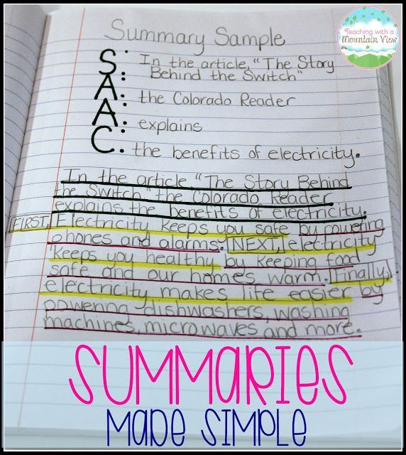 Writing Summaries Summary anchor chart, Summary writing and - sample chapter summary template
