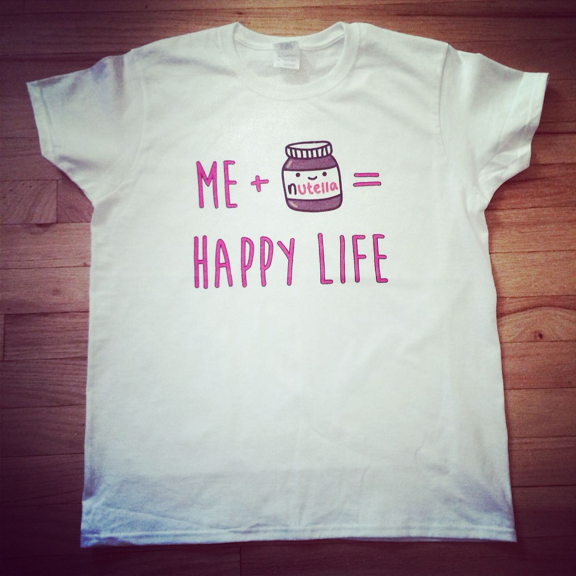 Me + Nutella   Happy Life Graphic Tee! - www.hipstertops.com  tgif ... 397cfedbed