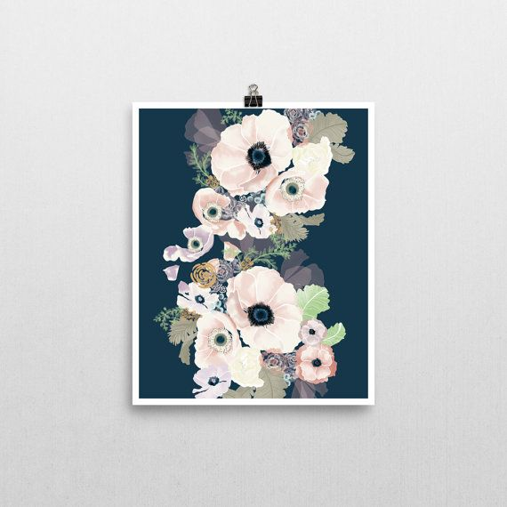 Good UNE FEMME Navy And Blush Modern Floral Art Print. Nursery InspirationNursery  IdeasArt ...