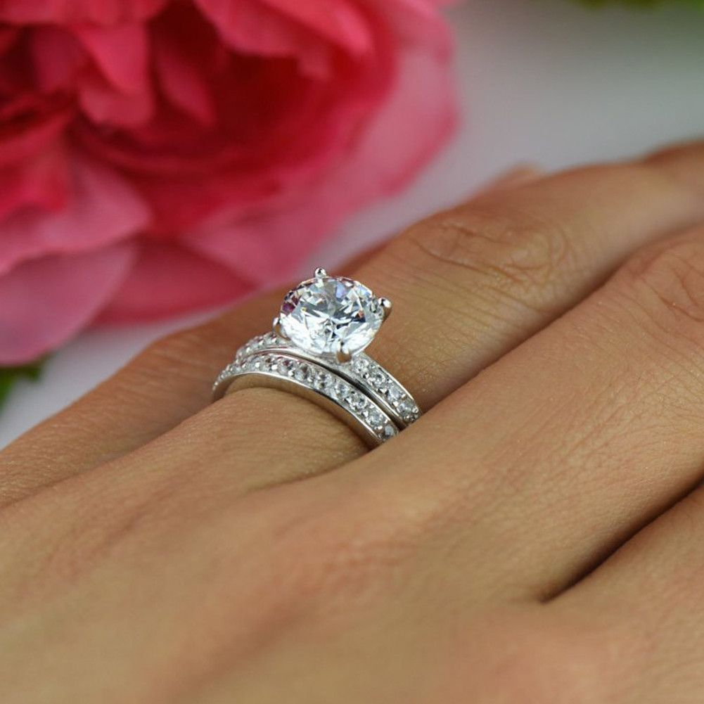 2 ctw Emerald Accented Solitaire Engagement Ring Sterling Silver Wedding Bridal Ring Promise Ring Man Made Moissanite Diamond