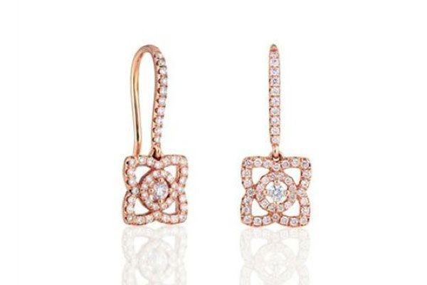 De Beers Enchanted Lotus Sleeper Earrings In Pink Gold, $2,450