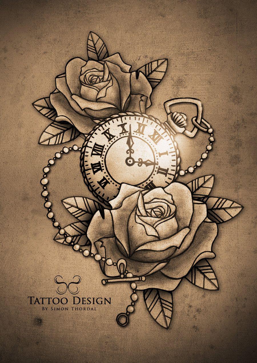 Tattoo relógio de bolso e rosas | tatto | Pinterest | Tattoo ideen ...