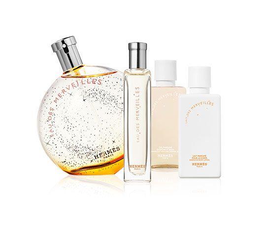Eau des Merveilles Set includes: Eau de toilette natural spray 3.3 fl. oz. and nomad0.5 fl. oz., perfumed body lotion 1.3 fl. oz., perfumed shower and bath gel 1.3 fl. oz.
