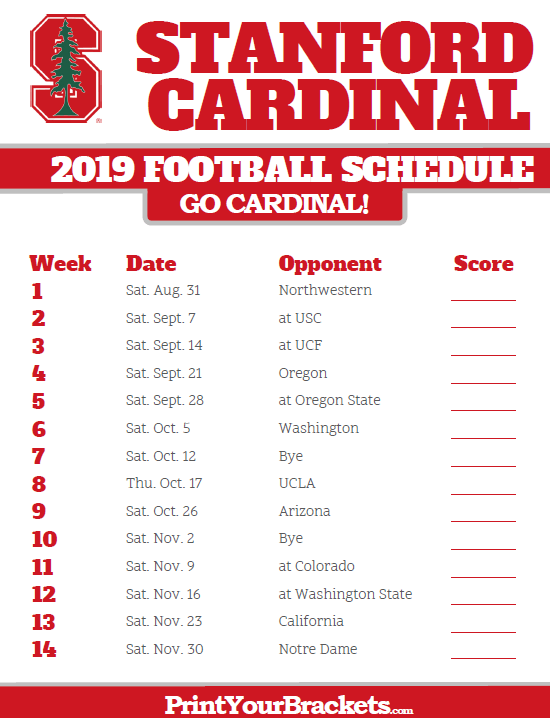 graphic regarding Ohio State Football Schedule Printable known as 2019 Stanford Cardinal Soccer Timetable Printable College or university