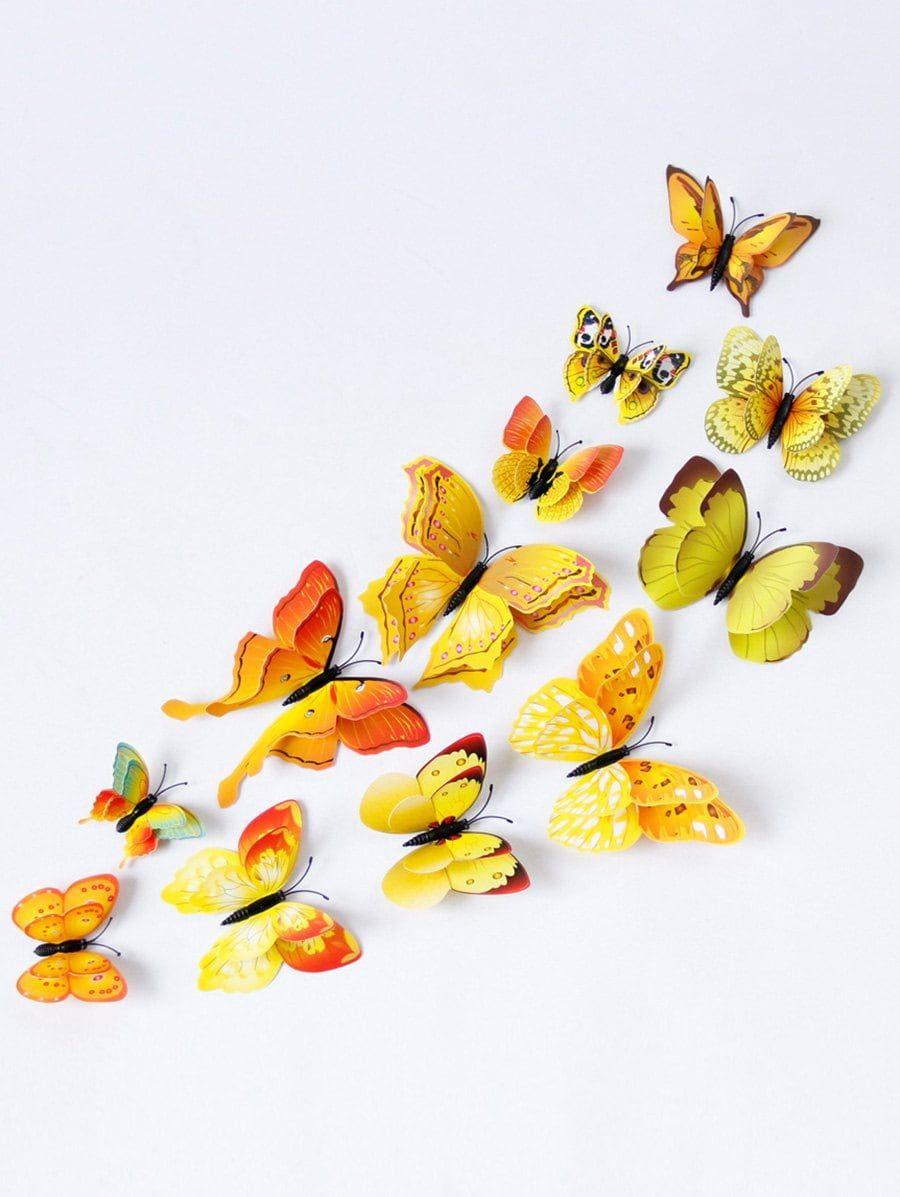 12Pcs 3D Butterflies Magnet DIY Home Decor Wall Stickers | Wall ...