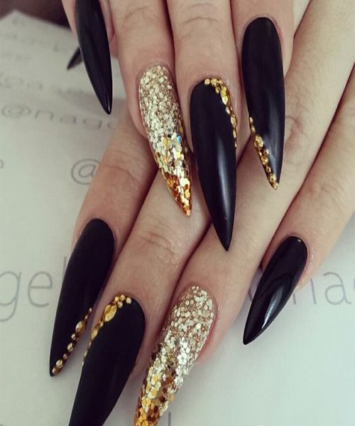 Gorgeous Glitter Nails Gold Blue Styles 2016 Gold Stiletto Nails Stiletto Nails Designs Black Stiletto Nails