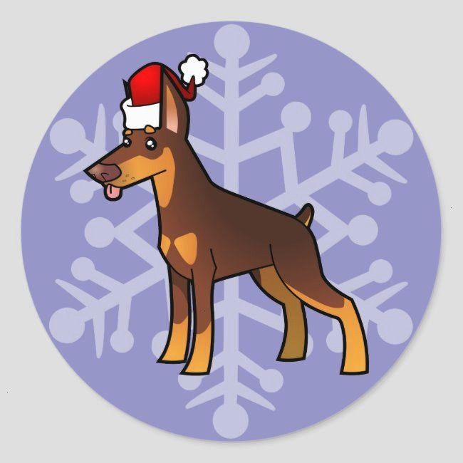 Doberman red and tan Classic Round StickerChristmas Doberman red and tan Classic Round Sticker