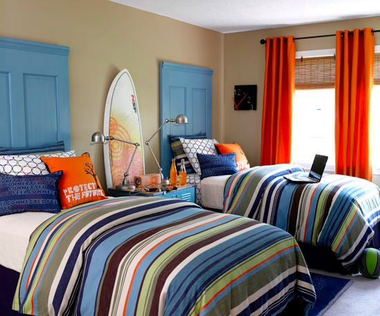An easy DIY headboard option is to use solid pine doors with added trim. Paint the doors to coordinate with the bedding.