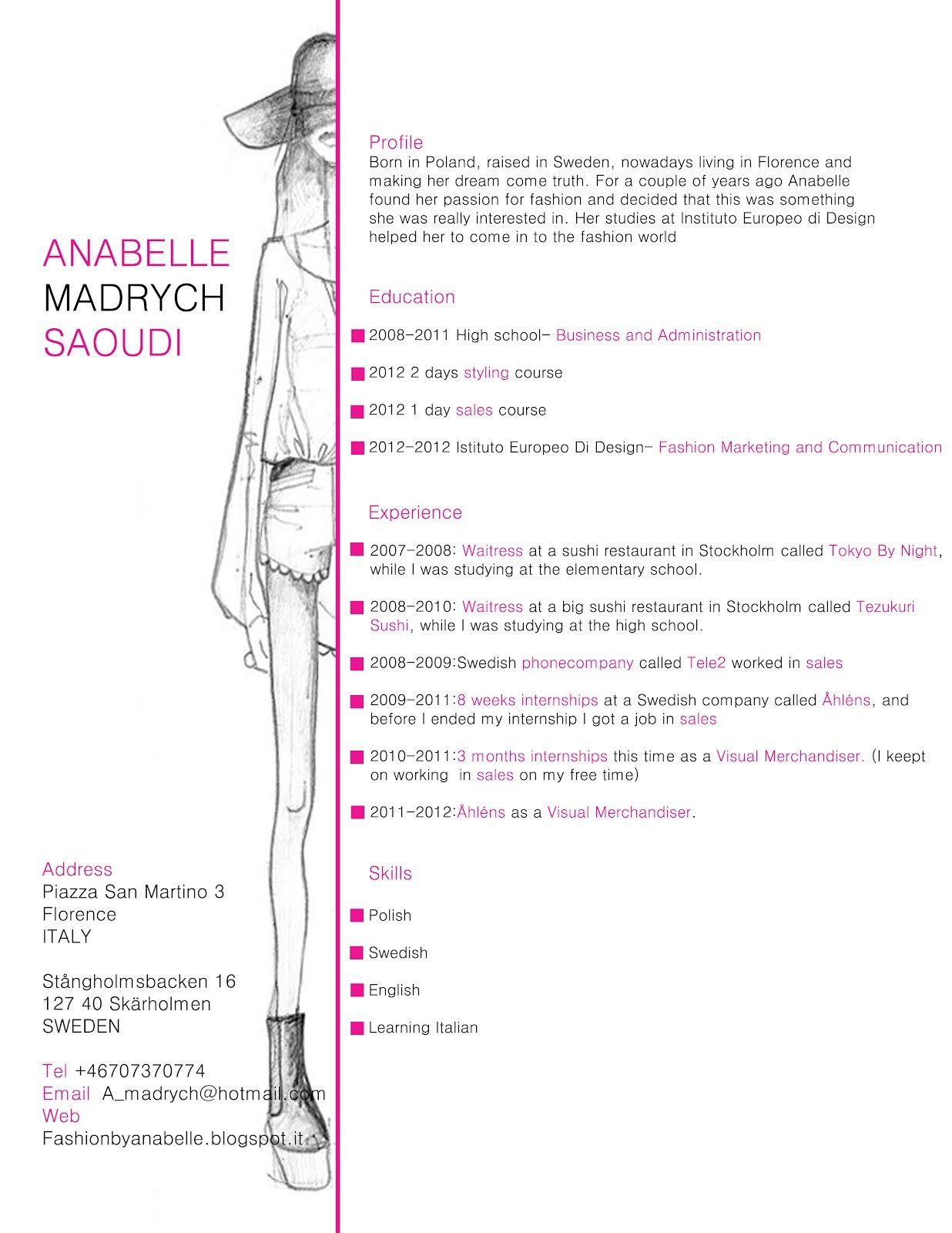 Fashion Resume Templates Fashion Cv Example And How It Was Created Httpstacieclark