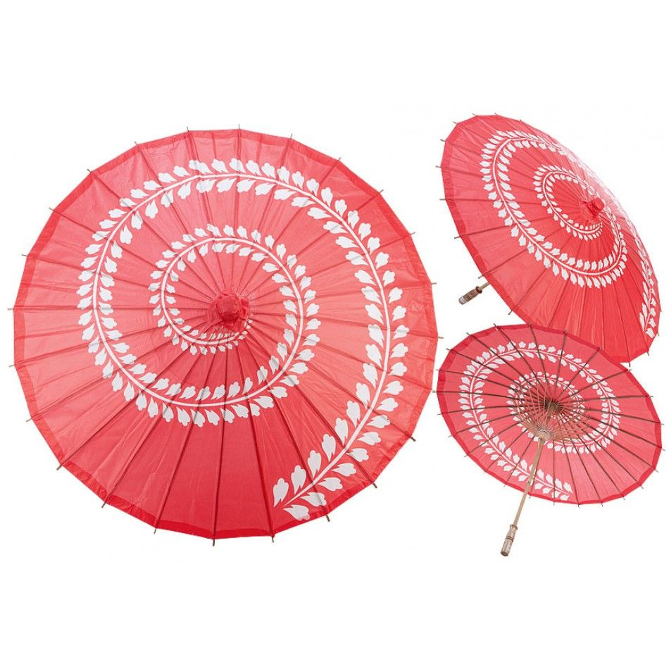 32 Red Leaf Swirl Design Paper Parasol [247-32PPSTR-WRD Red Leaf ...