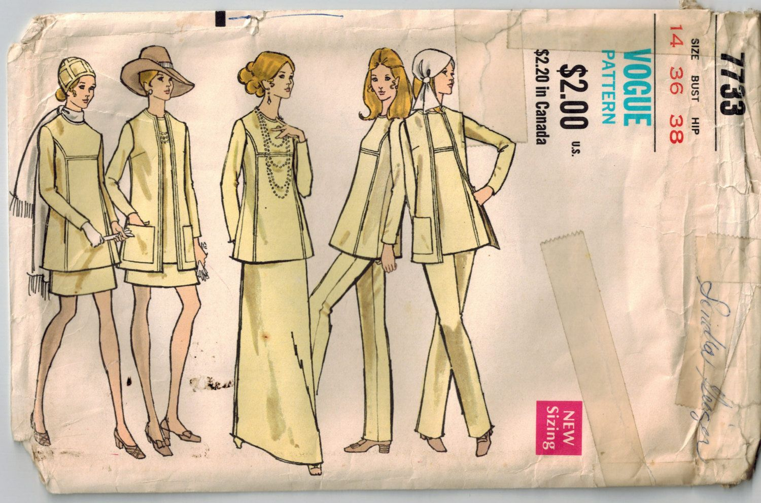 Vintage 70s Tunic Jacket Skirt and Pants Vogue Sewing Pattern Bust ...
