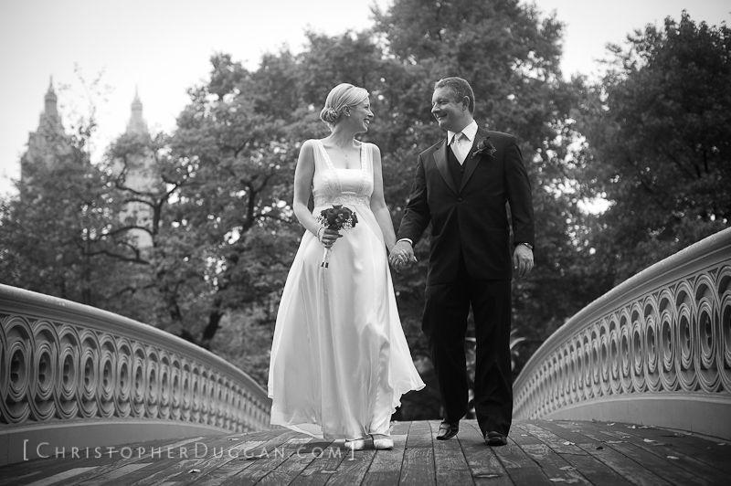 Bride And Groom On Bow Bridge Central Park