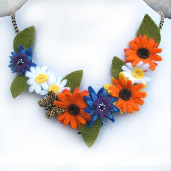 Flower Garland Bib Necklace, Marigold, Cornflower, Daisy Felt Flower Butterfly Jewelry, Orange Wildflower Statement Necklace, Summer Jewelry