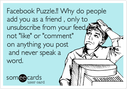 Facebook Puzzle Why Do People Add You As A Friend Only To Unsubscribe From Your Feed Not Not Like Or Comment On Anything You Post And Never Speak A W
