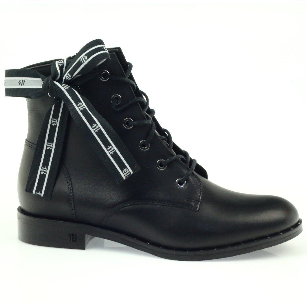 Botki Zdobione Kokarda I Cwiekami Badura Czarne Combat Boots Shoes Boots