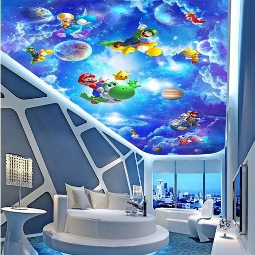 Super Mario Cartoon Ceiling Sky Wallpaper for Kids' Room